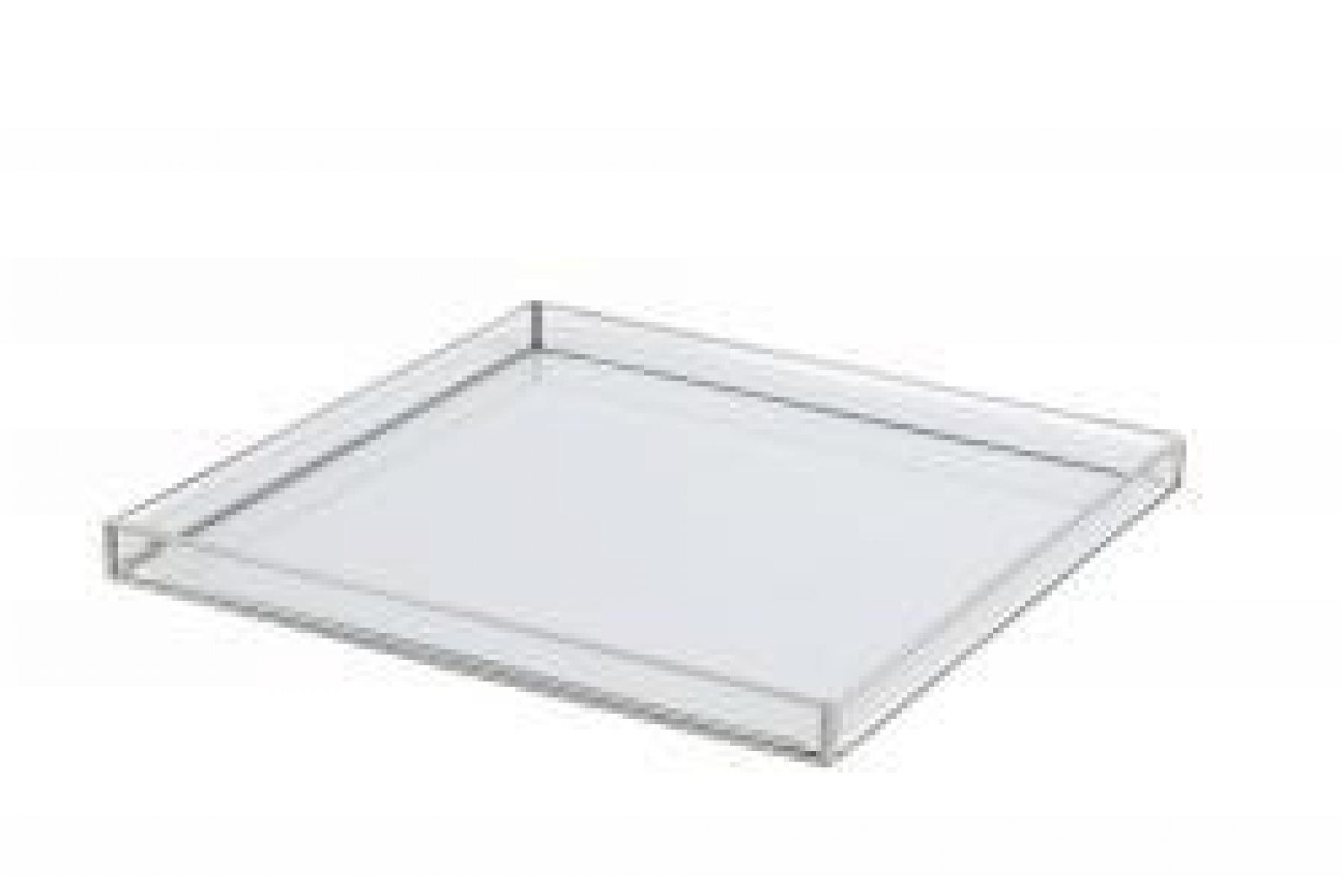 Bandeja de vidro com acabamento em prata M
