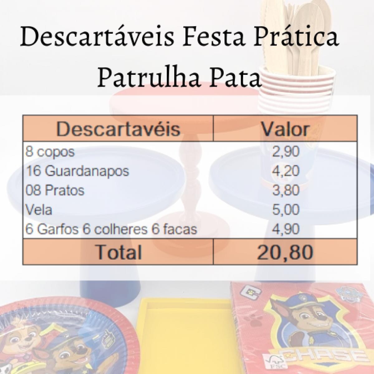Descartáveis Festa Prática Patrulha Pata